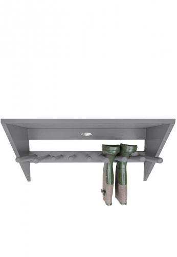 Deko Wand- Stiefelhalter aus lackiertem Holz, grau, modern für 4 Paar Gummistiefel von Esschert