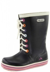 Kinder und Jugend Gummistiefel - RETRO SPRINKLE JUNIOR black - der trendige Viking Gummistiefel im Partnerlook