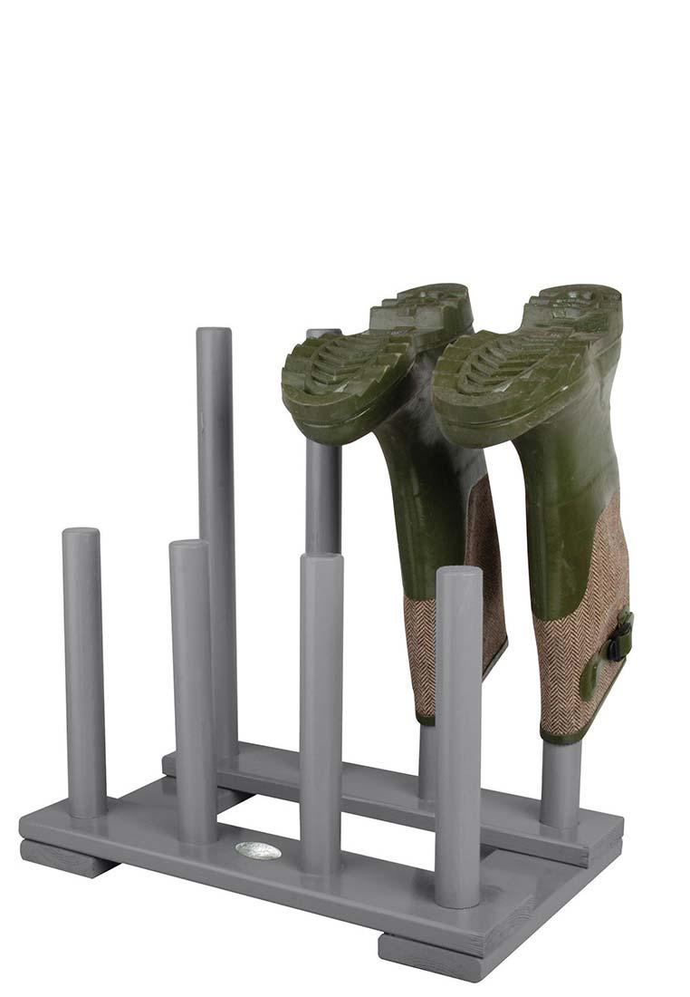 Deko Stand- Stiefelhalter aus lackiertem Holz, grau ...