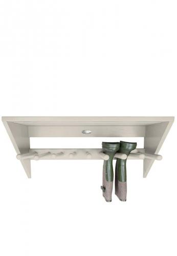 Esschert Design Deko Wand- Stiefelhalter aus lackiertem Holz, weiß, modern für 4 Paar Gummistiefel von Esschert