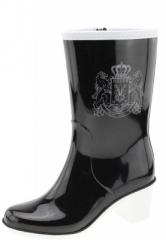 Keddo - Sport Couture Heel High - eleganter schwarzer Damenstiefel mit  weißen Akzenten und Emblem
