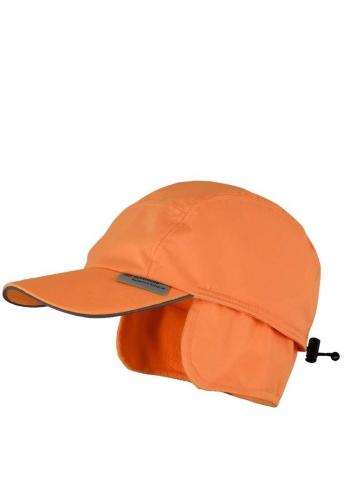 Warme Cap in oranger Signalfarbe mit Ohrenklappen aus 100% Polyester