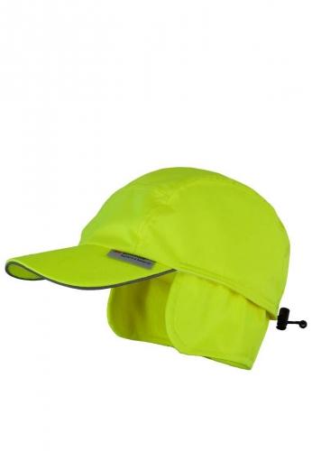 Warme Cap in gelber Signalfarbe mit Ohrenklappen aus 100% Polyester